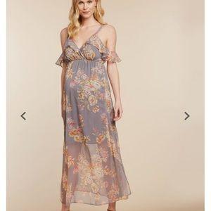 Jessica Simpson Ruffled Maxi Maternity Dress NWT